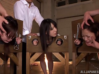 Nasty Oriental nubiles Ai Uehara, Ami Tokita and ally in the stockade